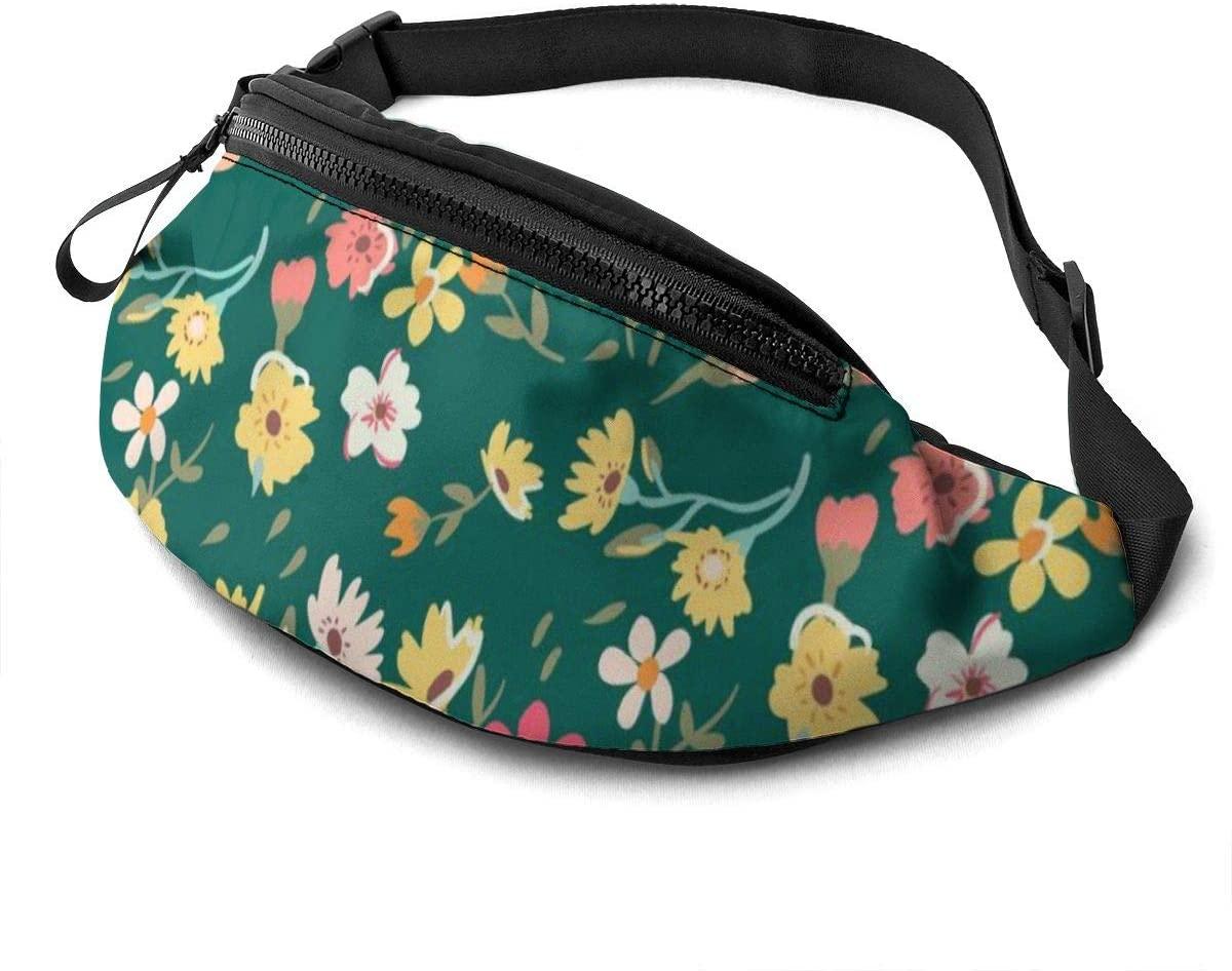 Vintage Flowers Pattern Fanny Pack For Men Women Waist Pack Bag With Headphone Jack And Zipper Pockets Adjustable Straps