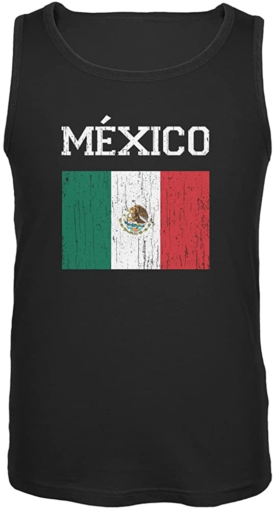 FIFA World Cup Distressed Flag Mexico Black Adult Tank Top