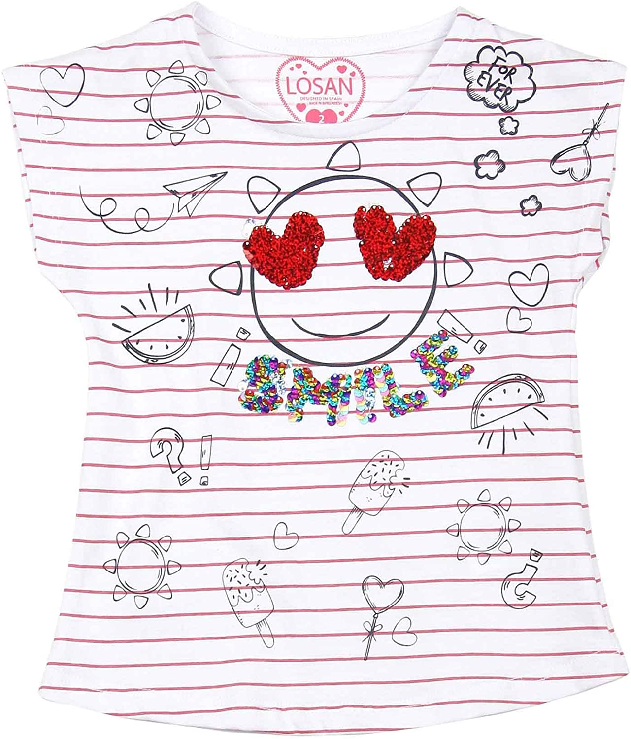 Losan Girls Striped T-Shirt with Print, Sizes 2-7