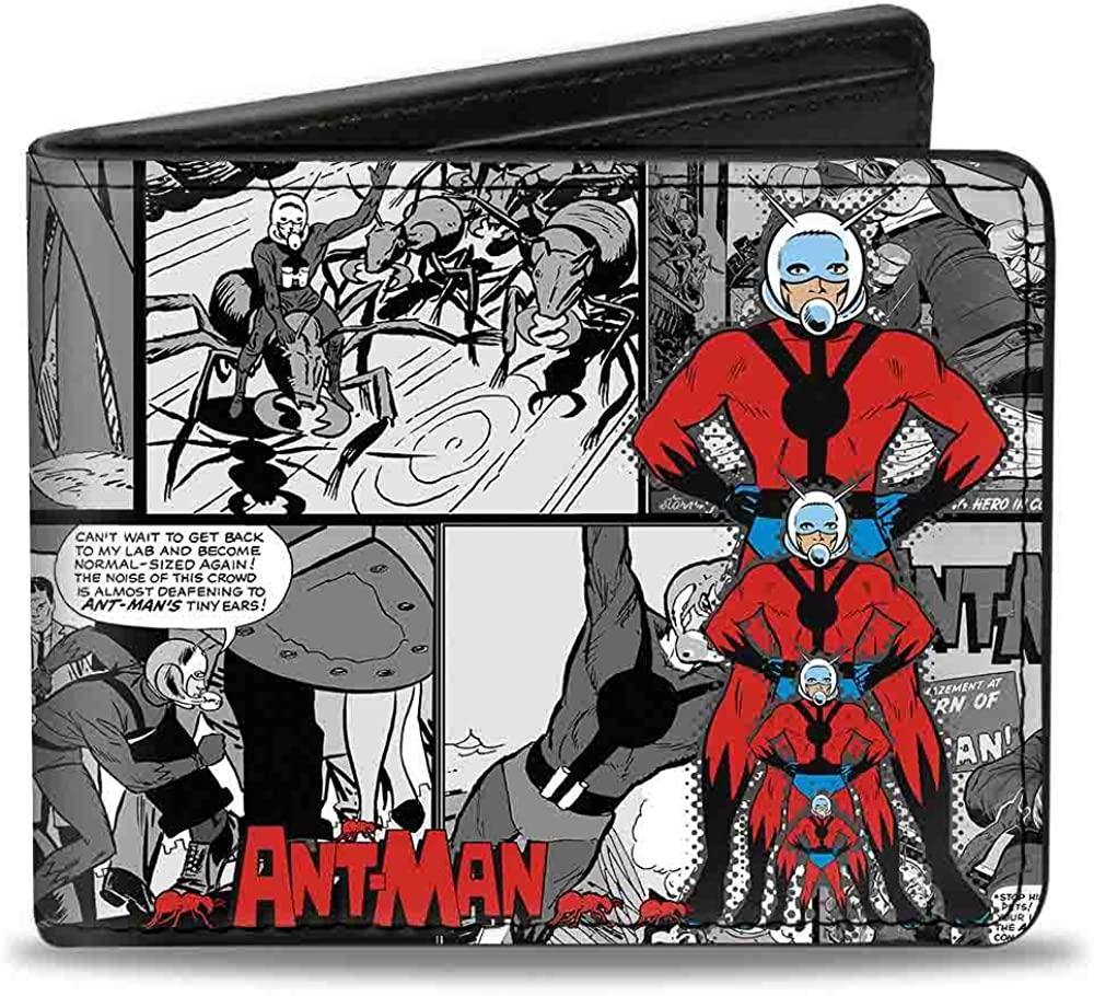 Men'sMarvel Comics Wallet Ant-man Shrinking Pose/comic Scene Bla, -Multi, One Size