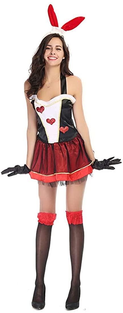Women Uniform Halloween Cosplay Bunny Costume Game Dress Clothing