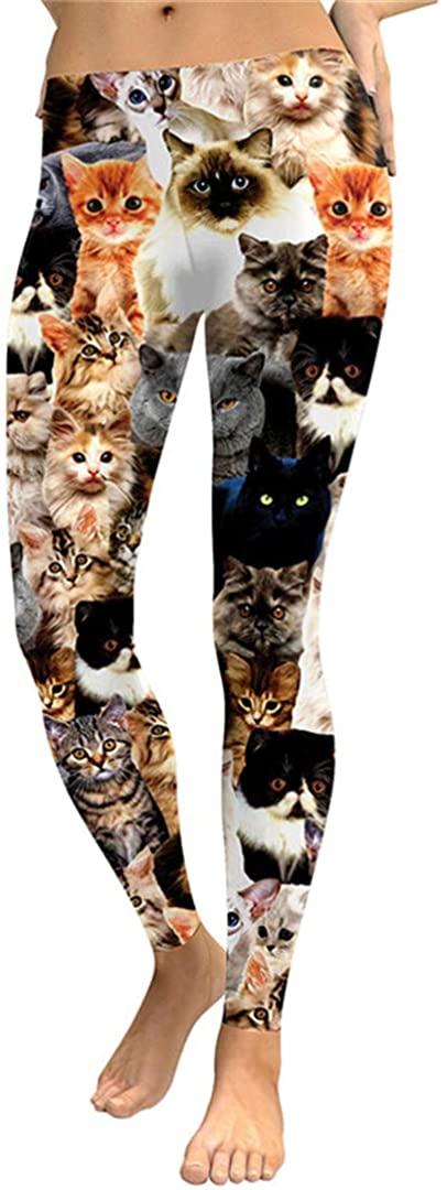 Animal Shapes Cats 3D Full Printing Unicorn Cake Geometry Punk Women Slim Fit Trousers Casual Pants Leggings