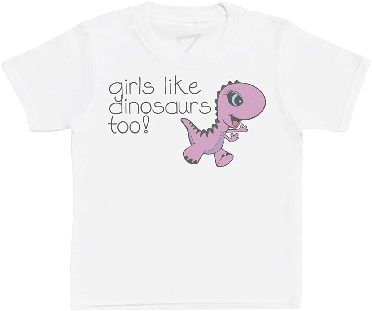 Zarlivia Clothing Girls Like Dinosaurs Too! Kids T-Shirts, Kids Tee, Kids Tshirts