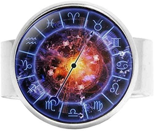 Blue Sign Horoscope Jewelry,Zodiac Circle Ring,Constellation Jewelry Charm Jewelry Glass Photo Jewelry