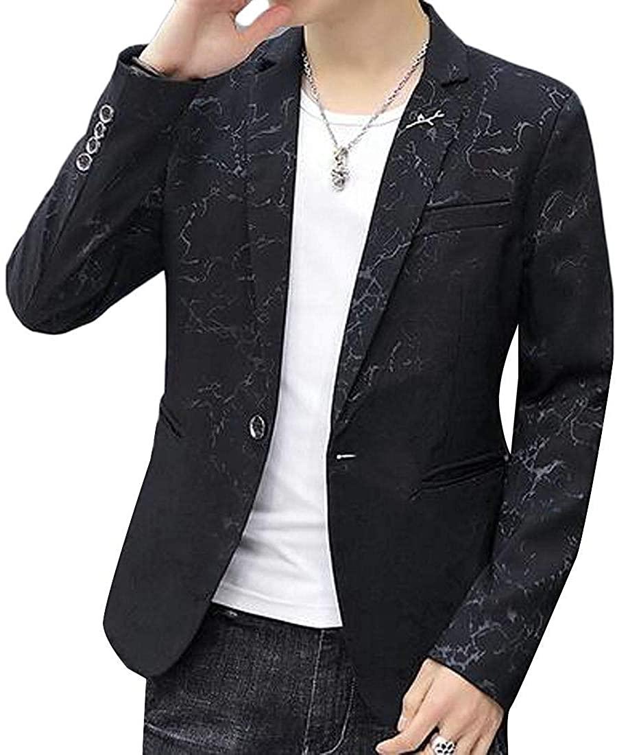 Mens Print 1 Button Slim Party Casual Business Dress Blazer Jacket Suit Coat