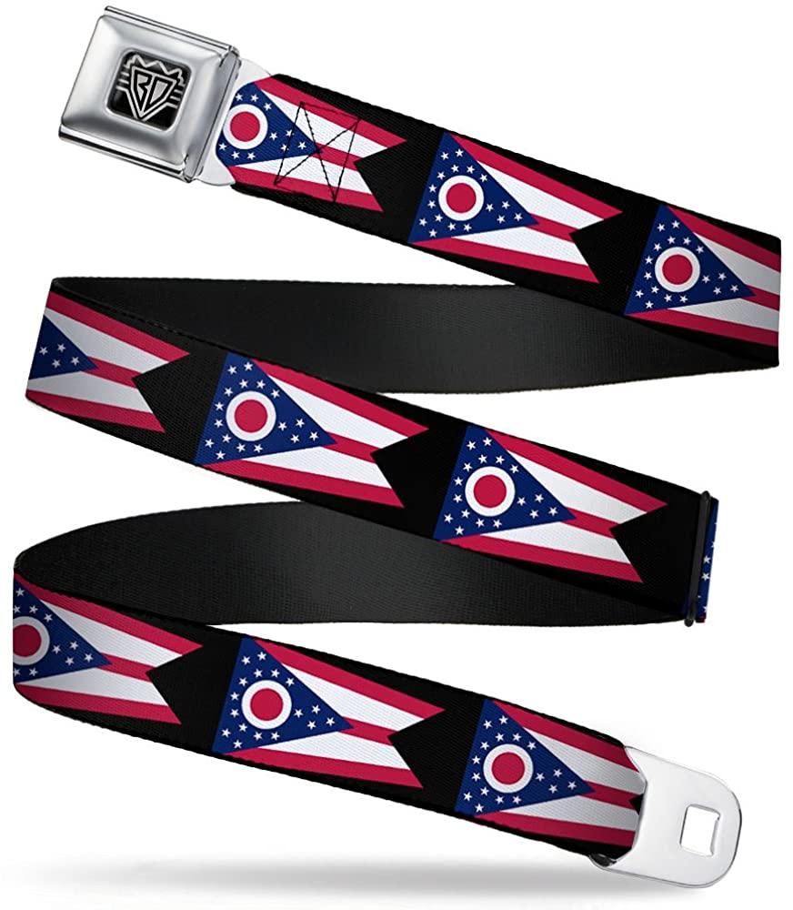 Buckle-Down Seatbelt Belt - Ohio Flag Repeat Black - 1.5