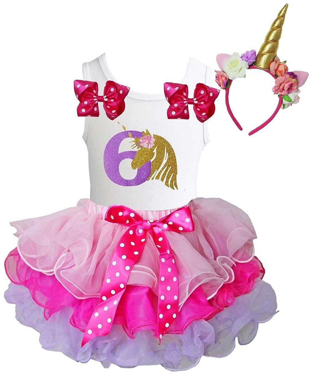 Kirei Sui Girls Pink Lavender Blue Tutu & 1st - 6th Birthday Unicorn Tee & Headband Outfit