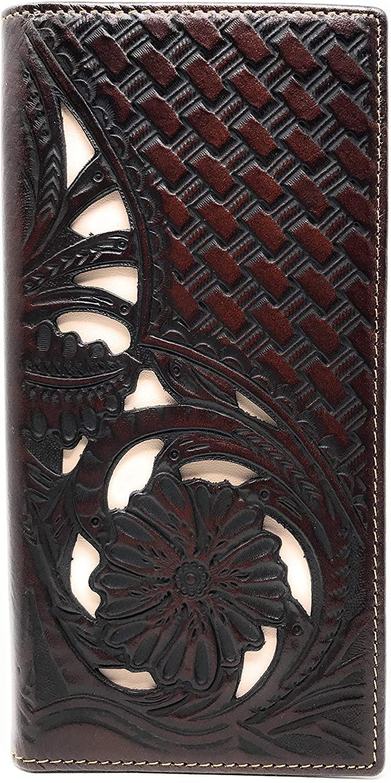 Western Genuine Leather Tooled Laser Cut Basketweave Men's Long Bifold Wallet in 8 colors (Coffee/Beige)