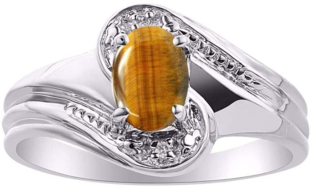 RYLOS Simply Elegant Beautiful Tiger Eye & Diamond Ring - November Birthstone