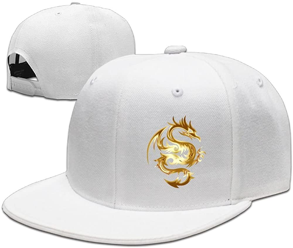 Gold Color Dragon Solid Flat Bill Hip Hop Snapback Baseball Cap Unisex sunbonnet Hat.