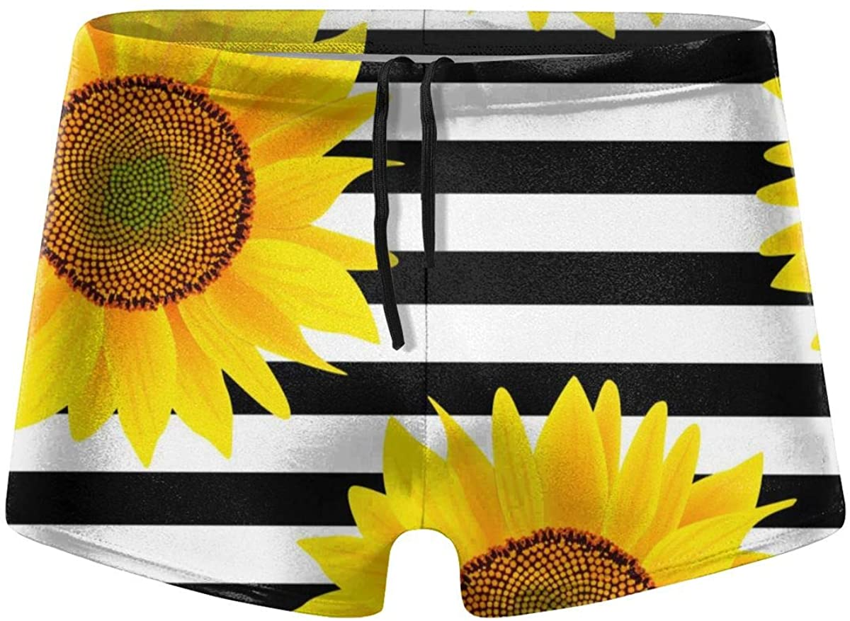 Sunflowers Striped Black White Men's Swimming Trunks Boxer Shorts Simple Tight Shorts Swimwear