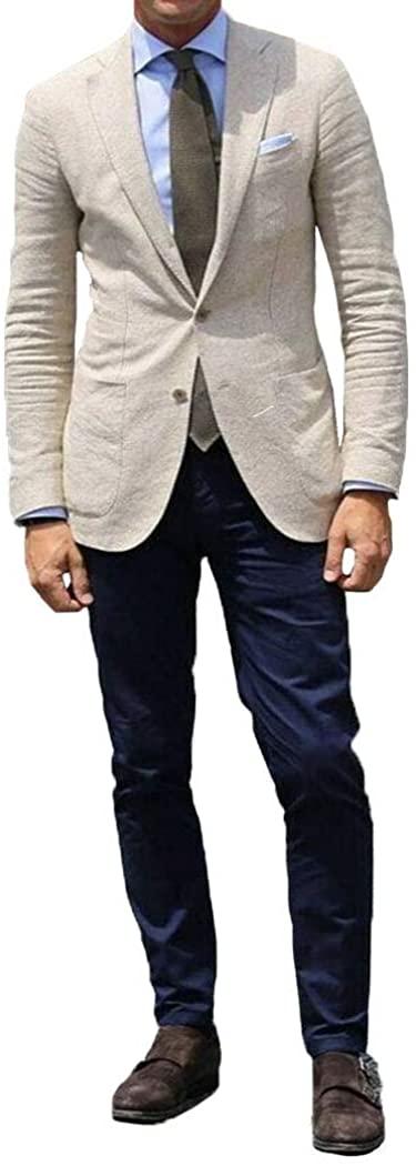 Men Beige Linen Suit Jacket Groom Tuxedo Wedding Prom Party Dinner Suit Blazer