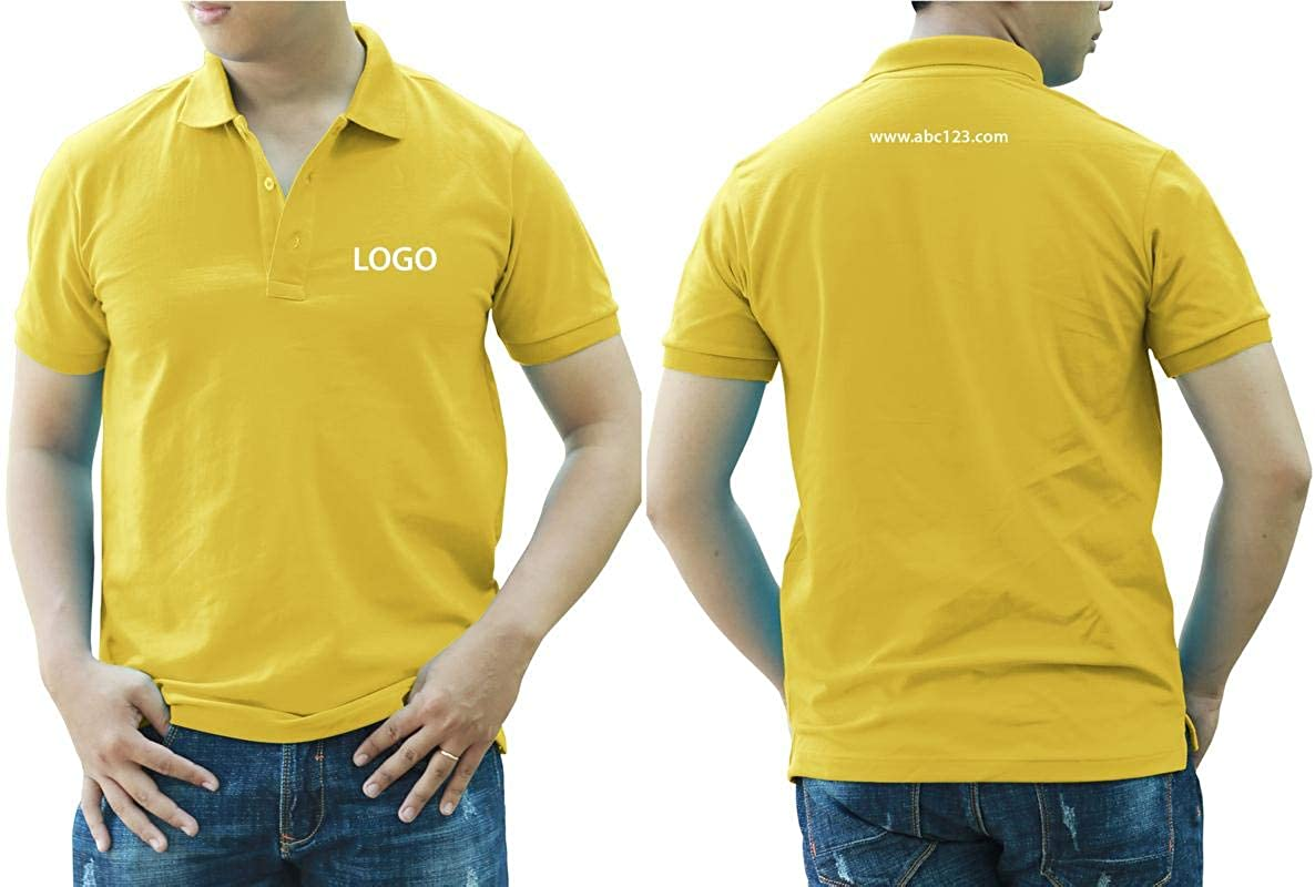 Add Your Logo Text Design Image Picture. Custom Polo. Personalized Polo. Embroidered On Polo & T-Shirt Uniform with Multi Sides. International Pack of 10 Lemon Yellow