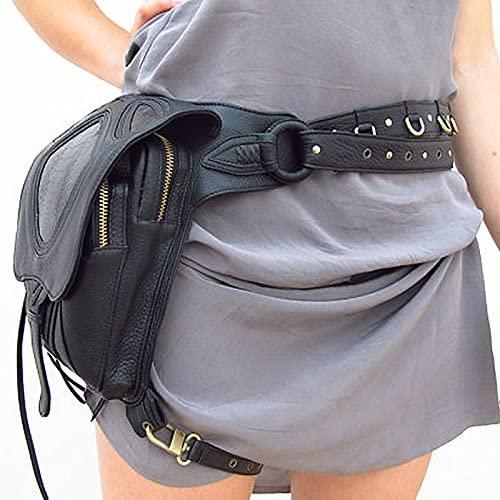Women Drop Leg Bag Waist Fanny Belt Hip Bum Motorcycle Punk Rock Tassel Crossbody Messenger Shoulder Pack