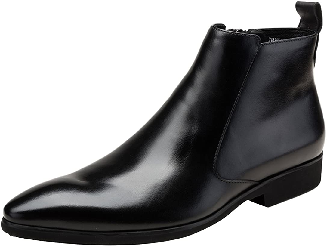 Insun Mens Leather Pointy Side Zip Chelsea Boots