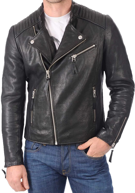 Mens Genuine Lambskin Leather Jacket MJ 297