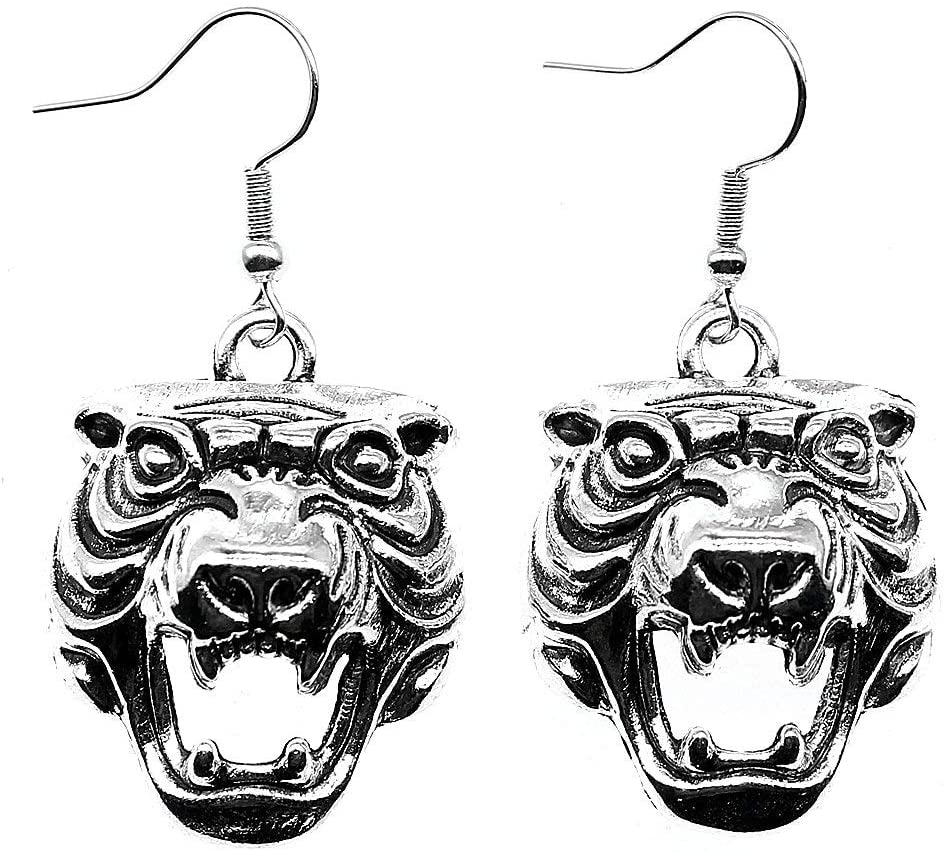 Taliyah 1 Pair 3D Tiger Head Drop Earrings for Girls with Earring Backs Stopper
