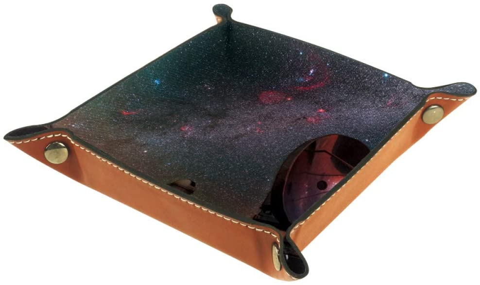 Desheze Nebula Starry Sky Galaxy Leather Storage Box Foldable for Watch Key Coin