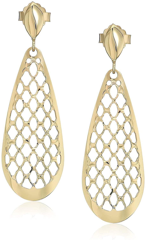 10k Yellow Gold Openwork Teardrop Drop Earrings