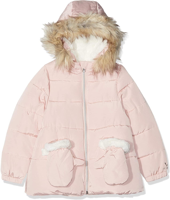 Catimini Girls Mauve Pink Puffer Winter Parka Coat & Mittens