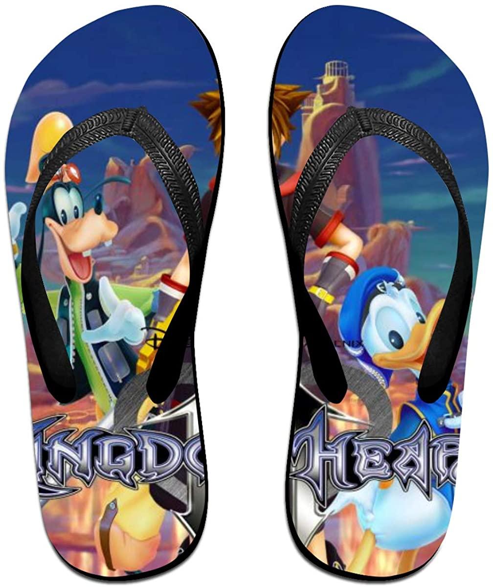 Kingdom Hearts Anime Flip Flops Beach Sandals Thong Slippers for Indoor Outdoor Bathroom Shower