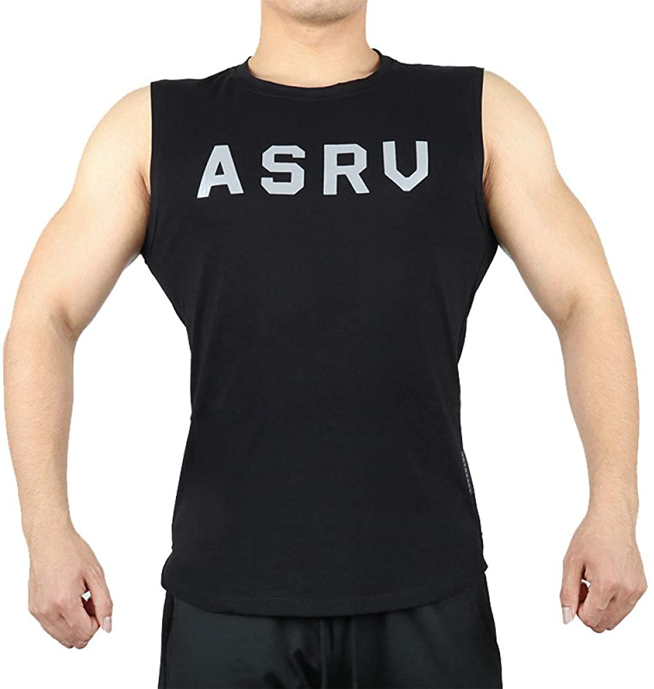 HOSD2020 Summer Men's Sports Vest Large Size Round Neck Printed t-Shirt Men's Training Reflective Fitness Clothing Black