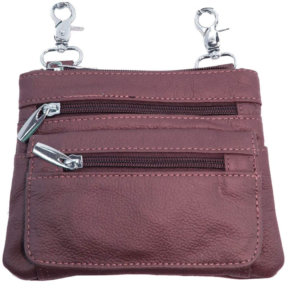 Silver Fever Leather Bike Rider Accordion Bag Cross Body Belt Phone Pack Pouch (WINE)