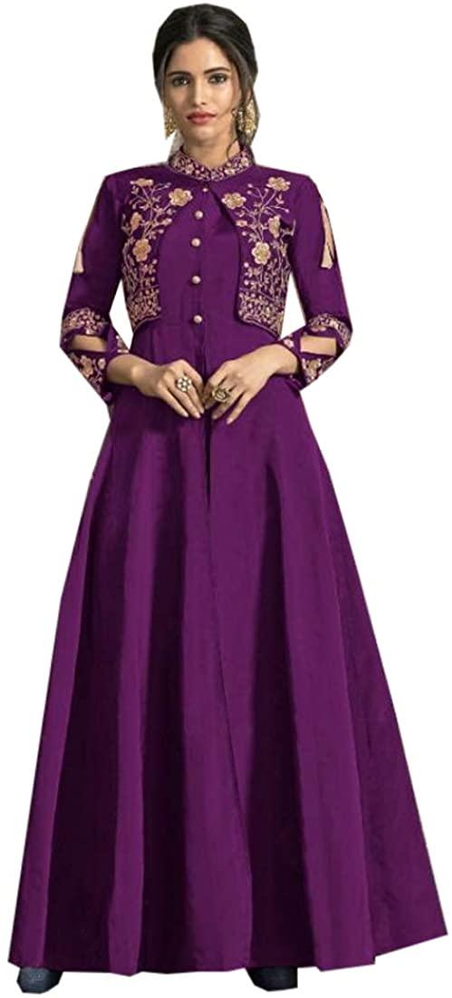 Purple Tapeta Silk Indian Party wear Jacket Koti Style Kurti Muslim Women Suit 9614
