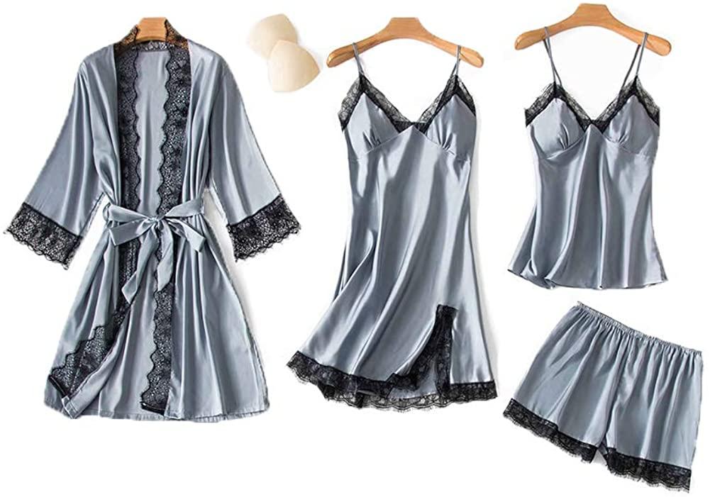 SAPJON Women's 4pcs Silk Satin Pajama Set Cami Top Nightgown Lace Sleepwear Robe Sets Sexy Nightdress with Chest Pads