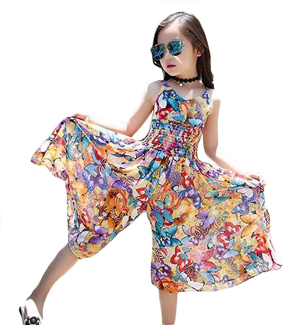 BANGELY Boho Beach Floral Print Dress Jumpsuit for Kids Girls Summer Casual Straps Wide Leg Pants Skirts Sundress