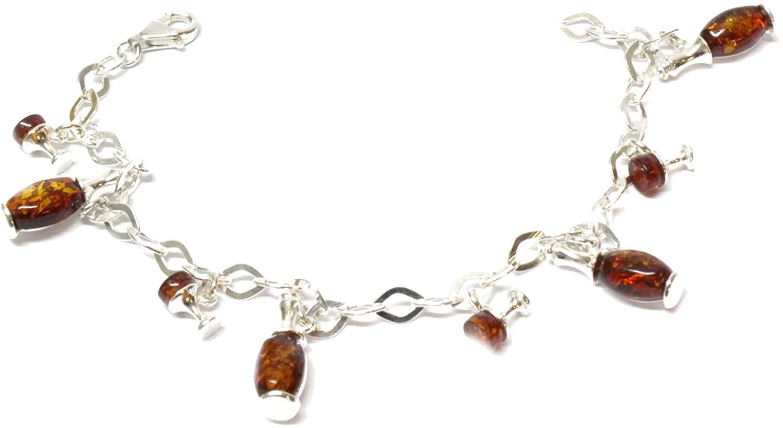Creazioni Oro 925/1000 Silver Bracelet with Cognac Natural Baltic Amber W0001 (B4409)