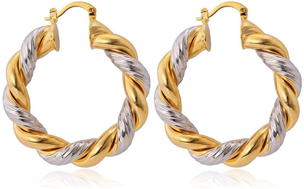 Women Girls Hoop Earrings Stainless Steel/18K Gold Plated Loop Earrings Hypoallergenic, Polished/Half Open/Vintage/Statement Ear Rings