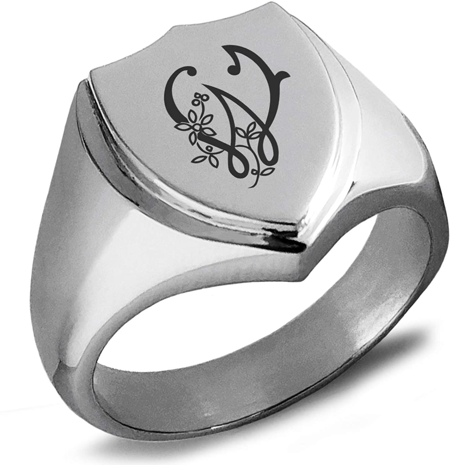 Tioneer Stainless Steel Letter W Initial Floral Monogram Shield Biker Style Polished Ring