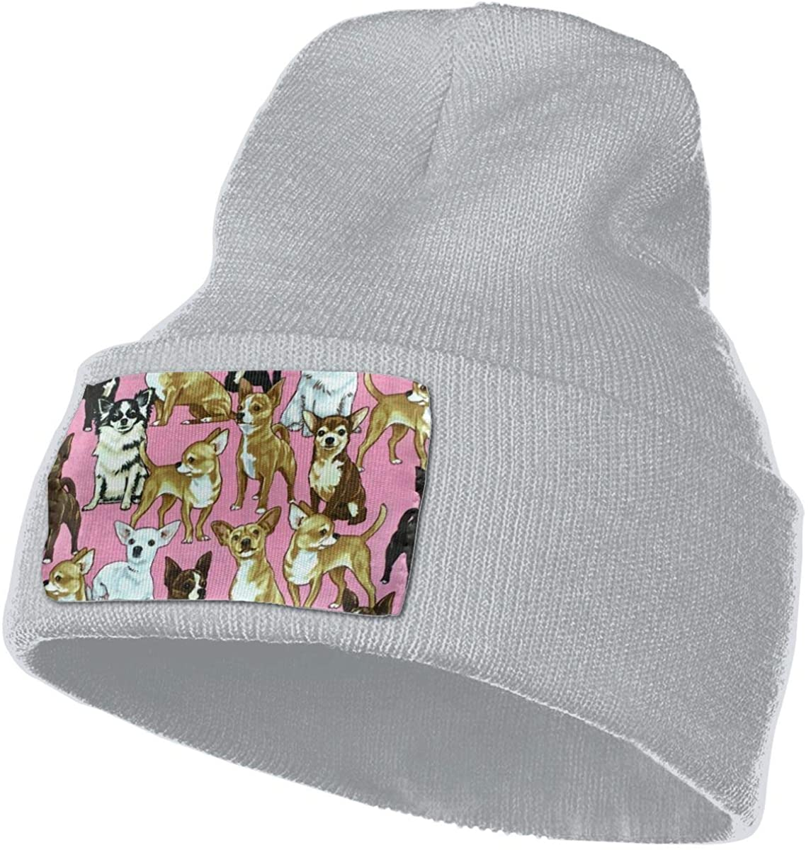 SOURCE POINT Unisex Beanie Hat Chiwawas Dog Pink Knit Hat Cap Skull Cap