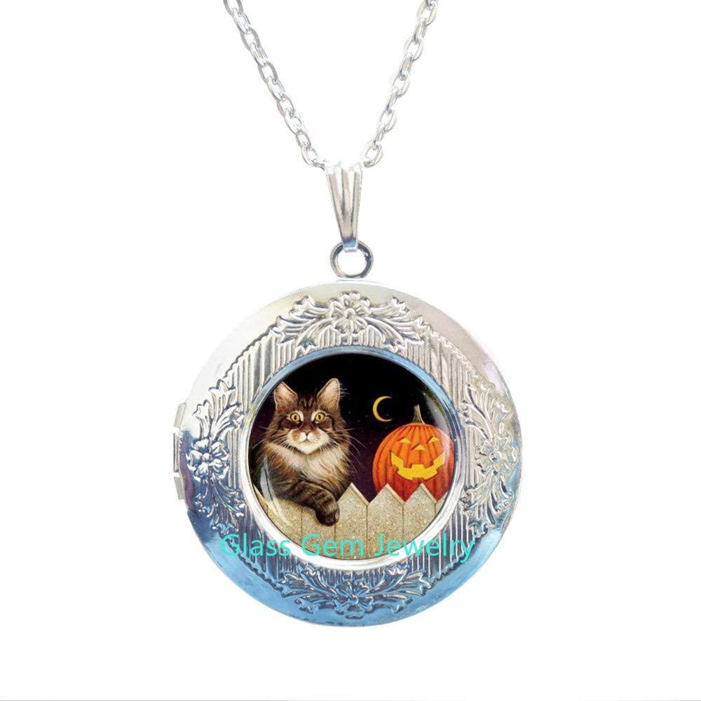 Halloween Locket Necklace , Halloween cat Locket Pendant, Halloween Pumpkin Locket Necklace , Trick or Treat Halloween Locket Pendant, Cat Locket Necklace , Halloween gift,Q0109