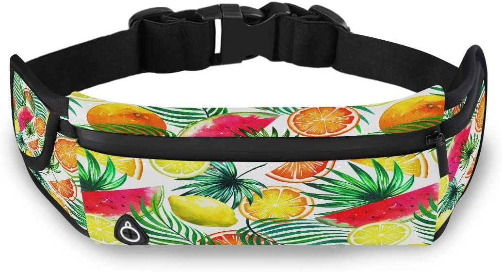 Tropical Watercolor Fruits Seamless Tropic Pattern Male Fashion Bag Travel Waist Bag Fishing Waist Pack With Adjustable Strap For Workout Traveling Running