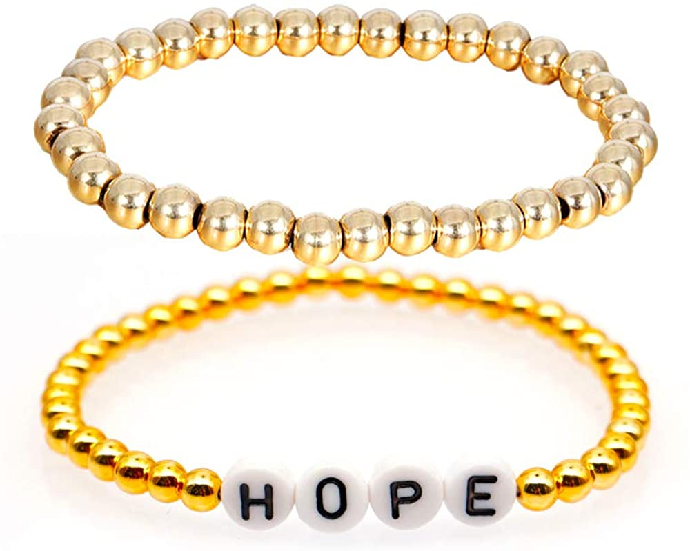 2Pcs Stainless Steel Beaded Ball Chain Love Friend Lucky Hope Mama Letter Bracelets for Women Girls Unique Meaning Jewelry Gifts