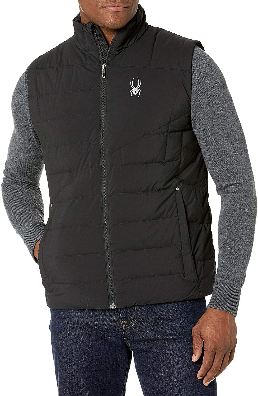 Spyder Mens Dolomite Down Vest, Black/Cirrus, Large