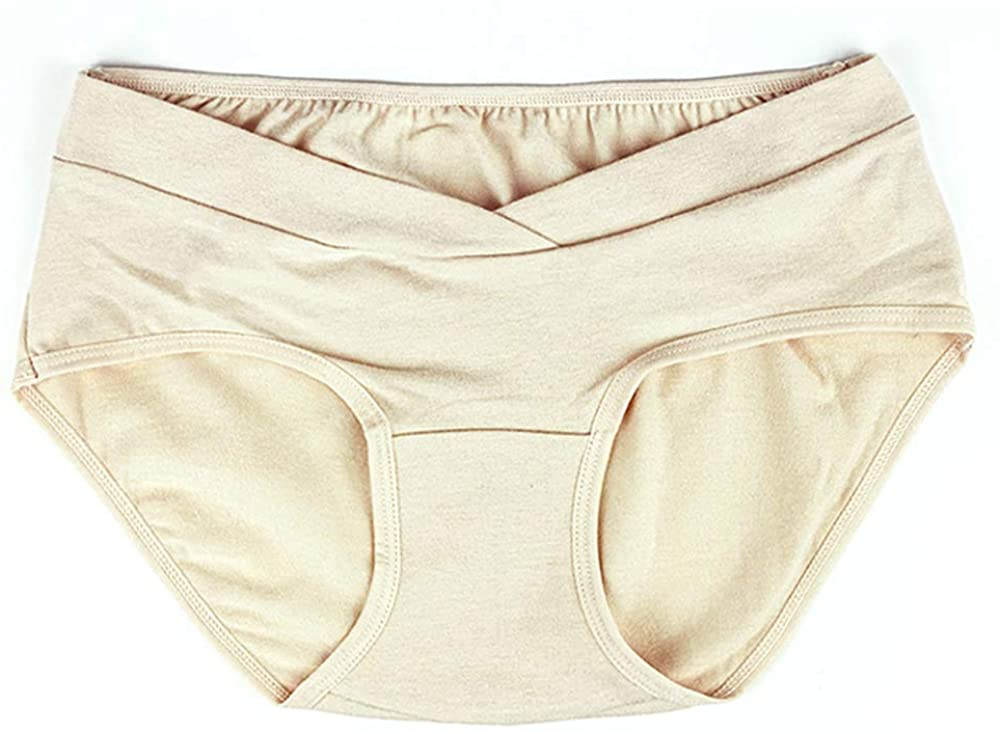 1+1 Women's V-wrap Under The Bump Maternity Organic Cotton Comfy Underwear/Pregnancy Hipster Panties 2 Pack Beige+Black