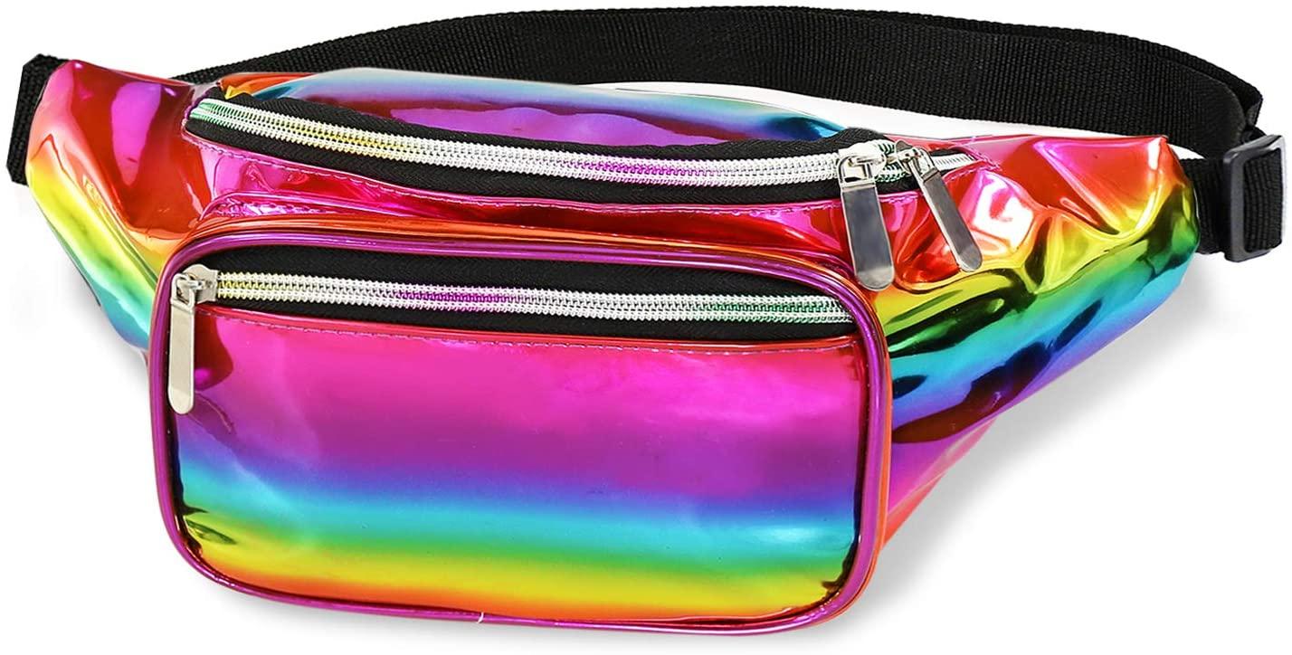 Shiny Neon Fanny Waist Bag Best for Festival, Rave, Fashion Pack Bum Bag Travel Pursemen (Rainbow)