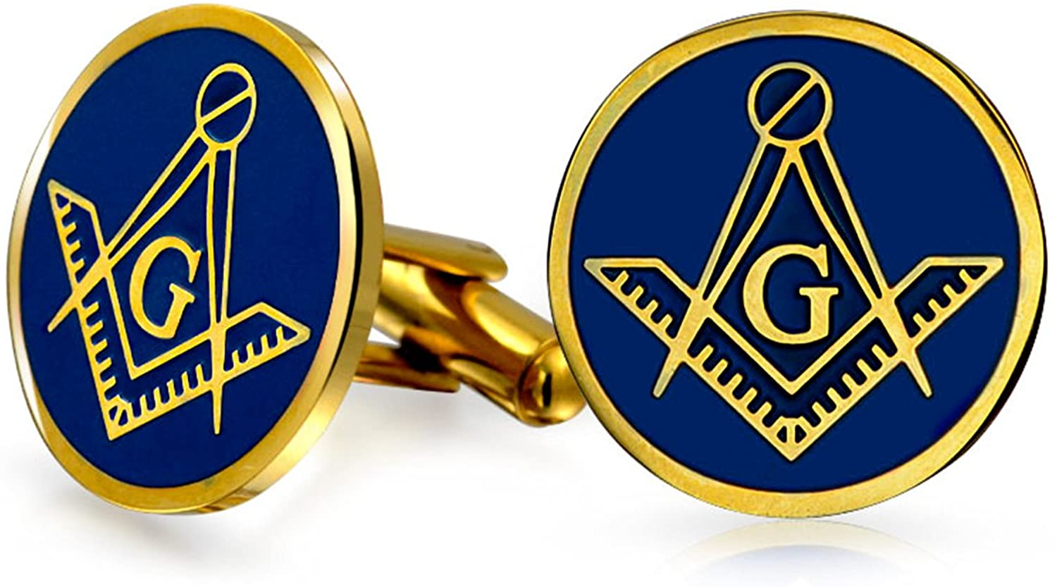 Bling Jewelry Freemasons Masonic Compass Symbol Round Cufflinks for Men Two Tone Gold Plated Silver Tone Stainless Steel