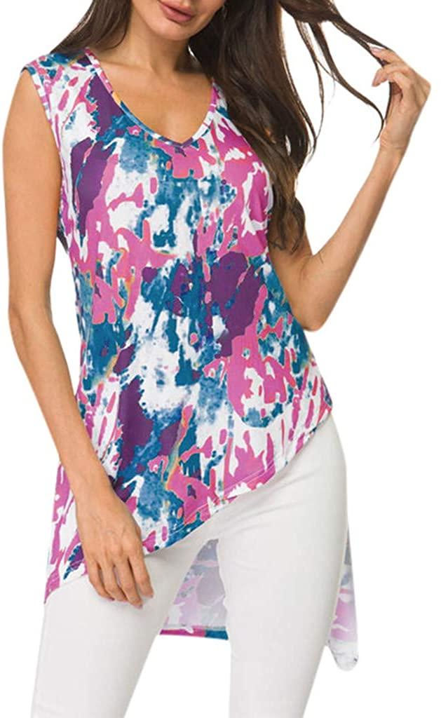 TWGONE Irregular Hem Tops for Women Plus Size V Neck Colorful Print Sleeveless Inkjet Loose Tank Blouse
