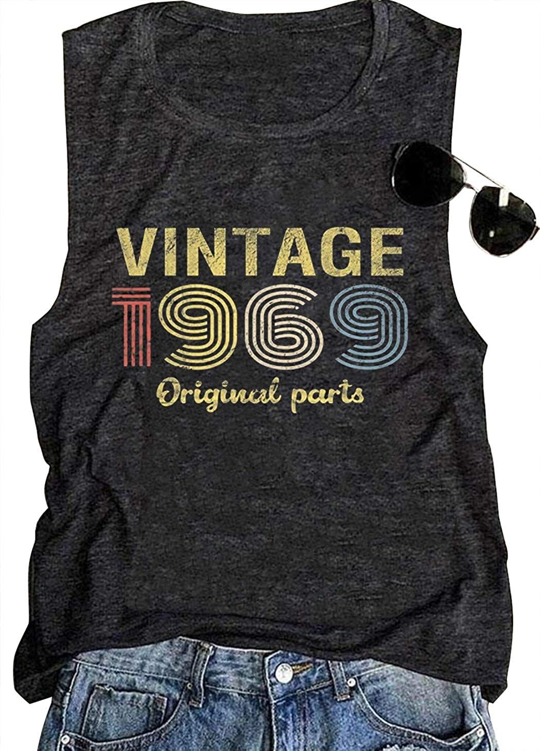 50th Birthday Gift Tank Tops for Women Vintage 1969 Original Parts Rock Legend Shirt Summer Casual Music T Shirt