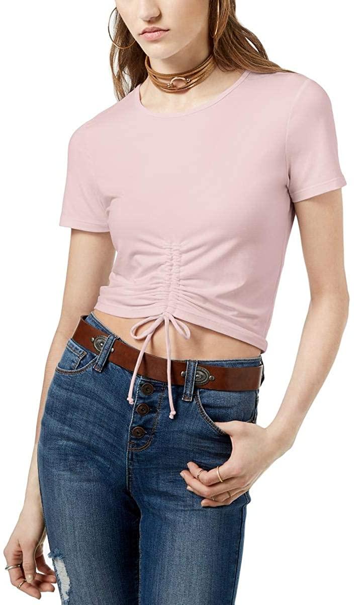 Ultra Flirt Womens Juniors Ruched Short Sleeve T-Shirt