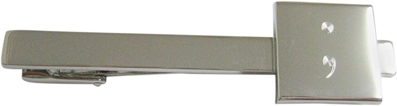 Kiola Designs Silver Toned Etched Semicolon Sign Square Tie Clip