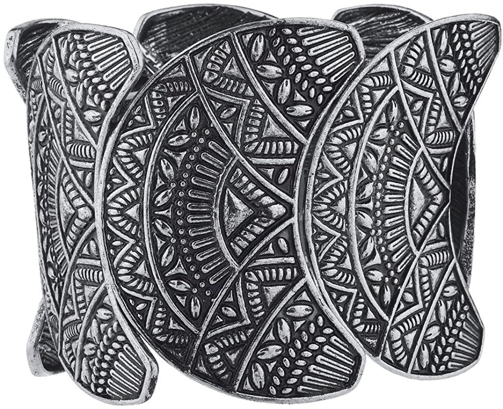Lux Accessories Burnished Silvertone Wide Aztec Tribal Stretch Bracelet