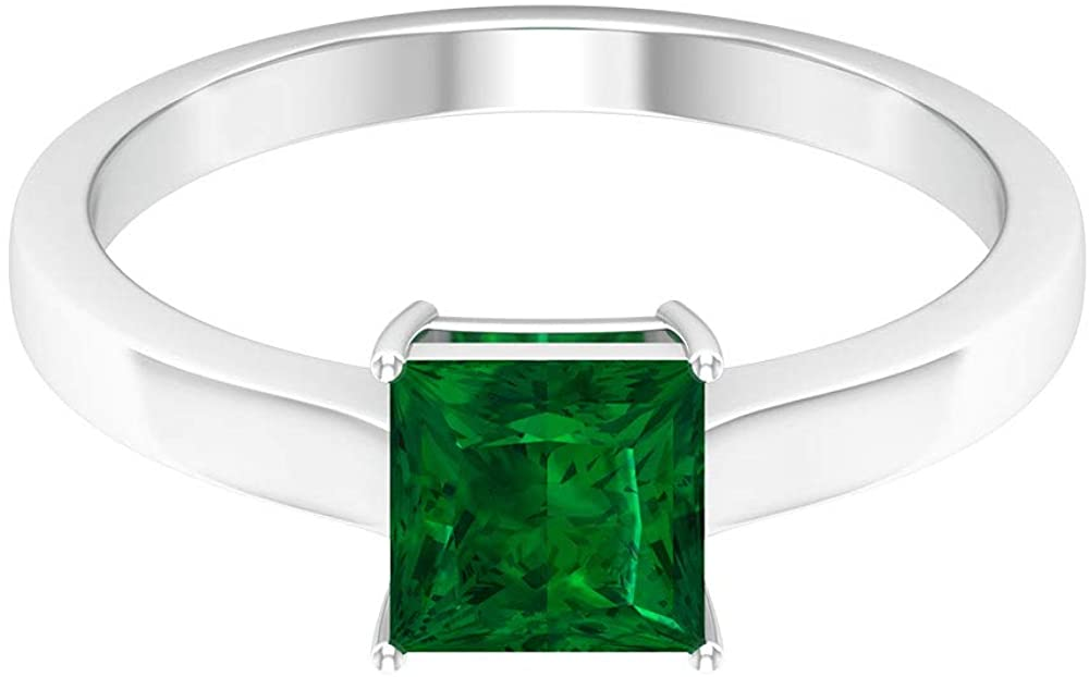 1.2 Ct Certified Lab Created Emerald Gold Ring, Unique Solitaire Engagement Ring, Princess Cut Gemstone Promise Ring, Classic Wedding Bridesmaid Ring,14K Gold