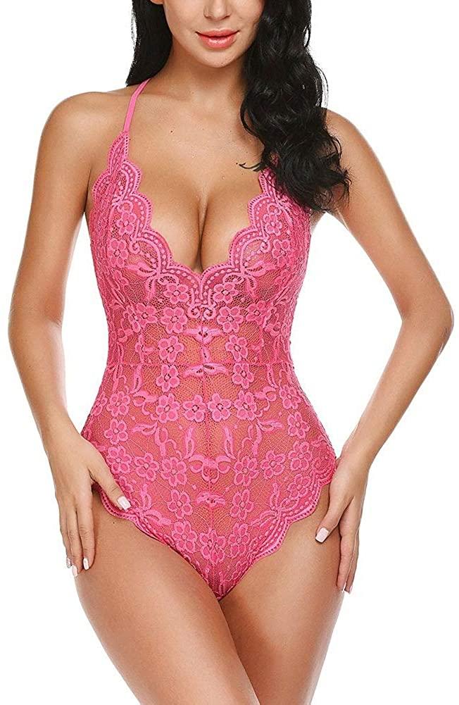 Sexy Lingerie Plunge Temptation Underwear Deep V Nightwear Lace Sling Sleepwear for Female