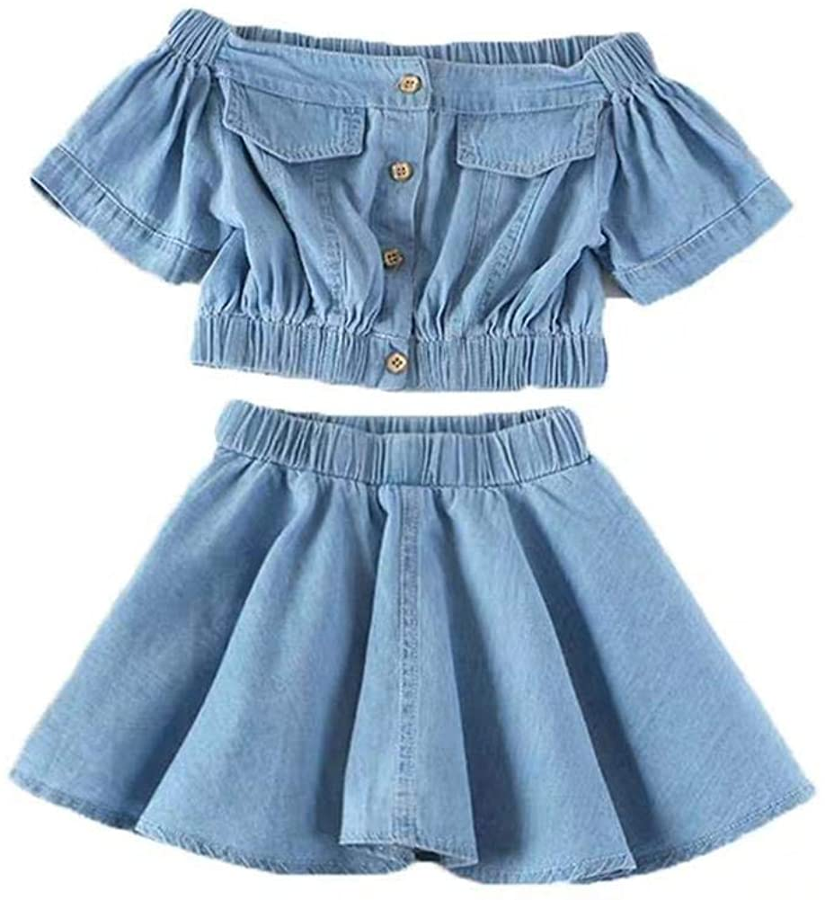 Toddler Girls Clothes Set Off Shoulder Ruffled Denim Skirt Casual Summer Outfit 2PCS