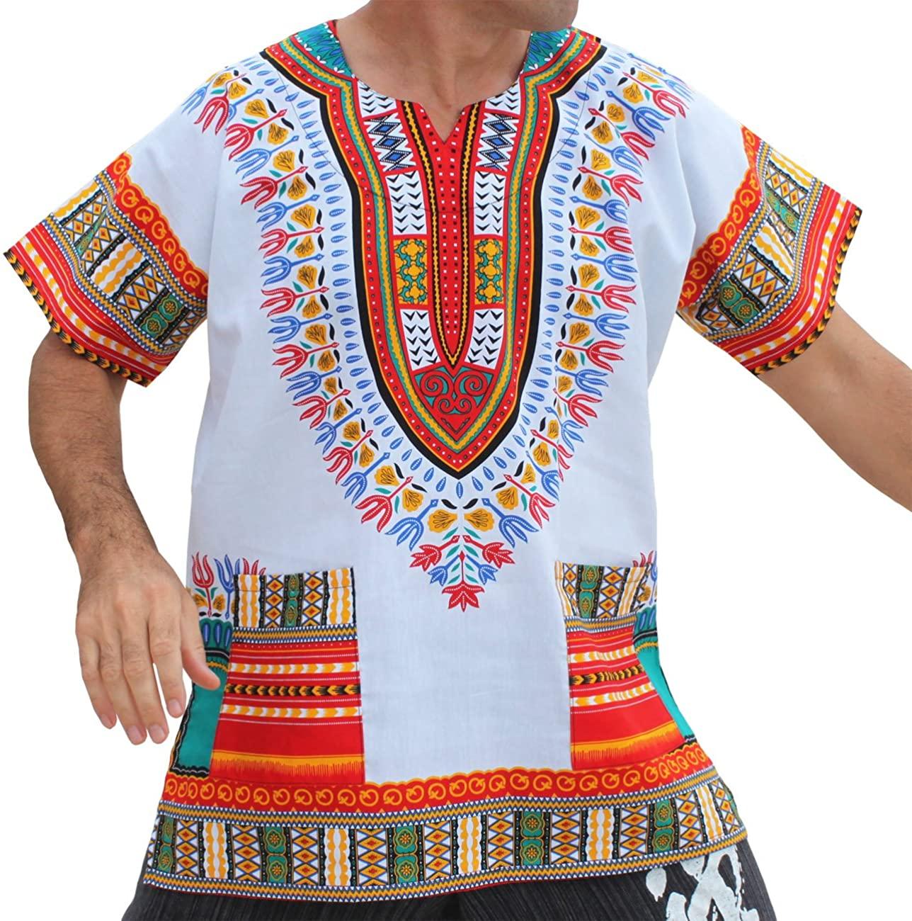RaanPahMuang Unisex Bright Africa White Dashiki Cotton Plus Size Shirt, XXXXXXX-Large, Red/White